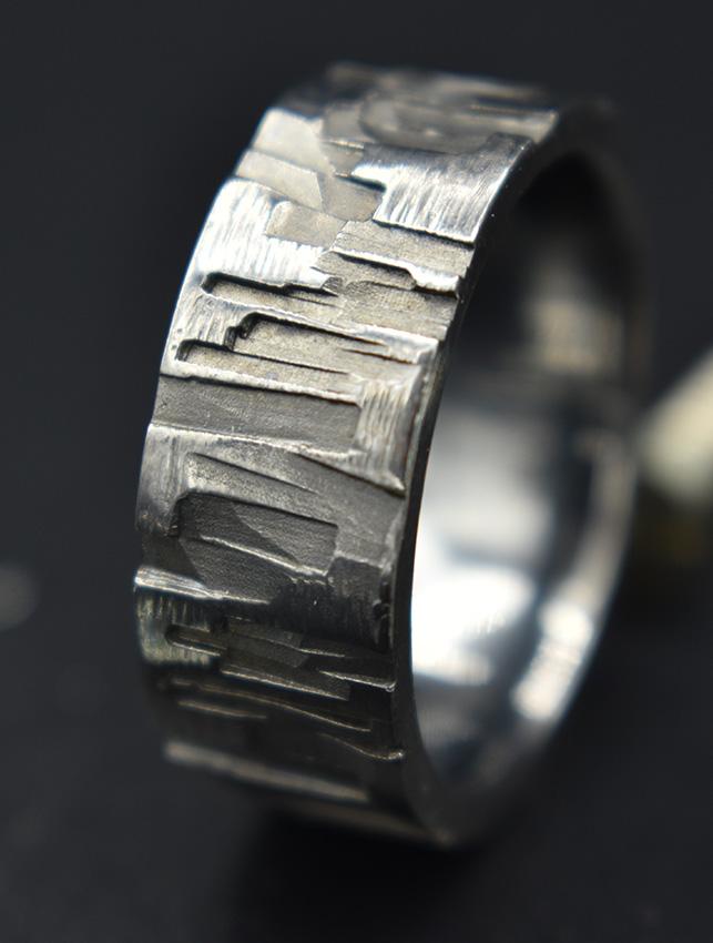 Silberring mit Ruthenium beschichtet