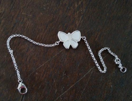 Silberarmband Schmetterling mit Emaillack